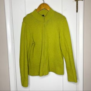 Eileen Fisher green yellow zip up sweater Medium